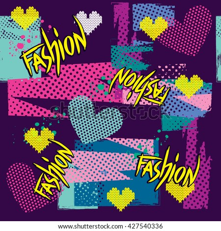 Abstract seamless cheerful pattern for girls.  Hearts and pieces of fabric with dots in blue, pink, purple and yellow colors. Fashion girlish background for funny clothes. #427540336
