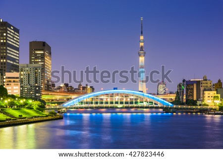 Tokyo, Japan skyline on the Sumida River at night. #427823446