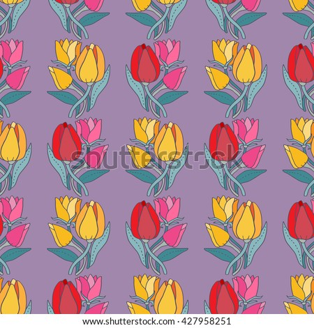 Beautiful tulip flower bouquet seamless pattern, lovely raster illustration. Good for textile fabric design, wrapping paper and website wallpapers. #427958251