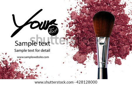 Makeup artist business card template with makeup items background
