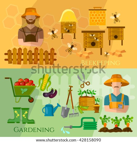 Gardening and beekeeping banner seedling cultivation vector illustration #428158090