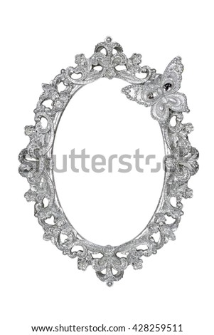 Oval silver picture frame with butterfly isolated with clipping path.
