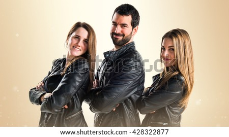 Three friends with black leather #428322877