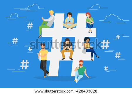 Hashtag concept illustration of young people using mobile tablet and smartphone for sending posts and sharing them in social media. Flat vector hashtag big symbol with guys and women follow the trend #428433028