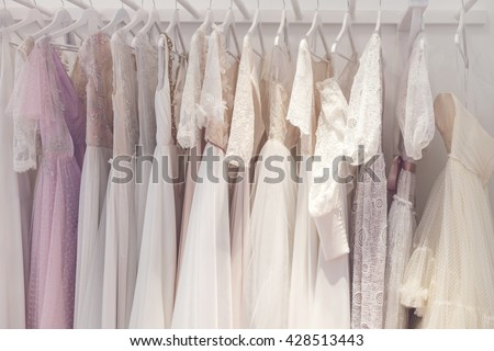 Wonderful bridal gowns in a store #428513443