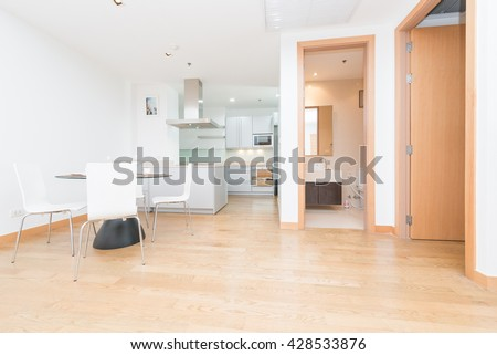 Empty bright living room without furniture #428533876