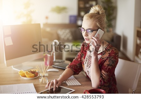 Woman surrounded with digital devices #428553793