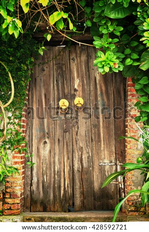 The wooden door of the old house #428592721