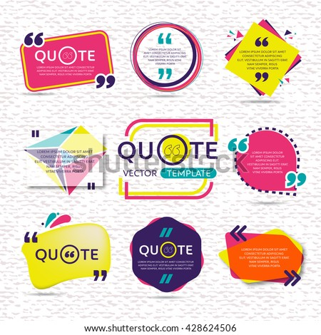 vector set of Creative quote text template with colorful background Royalty-Free Stock Photo #428624506
