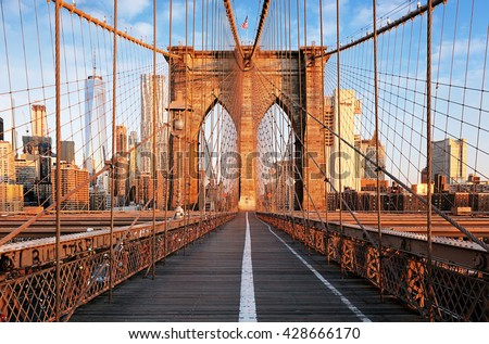 Brooklyn Bridge at sunrise, New York City , Manhattan Royalty-Free Stock Photo #428666170