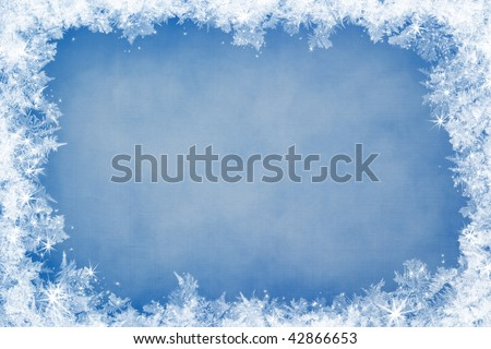 Winter frame of gleaming ice, in the center of the composition aged textured background Royalty-Free Stock Photo #42866653