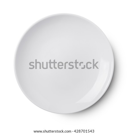 Empty ceramic round plate isolated on white Royalty-Free Stock Photo #428701543