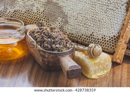 Bee propolis and honey delicious, useful and medicinal products #428738359