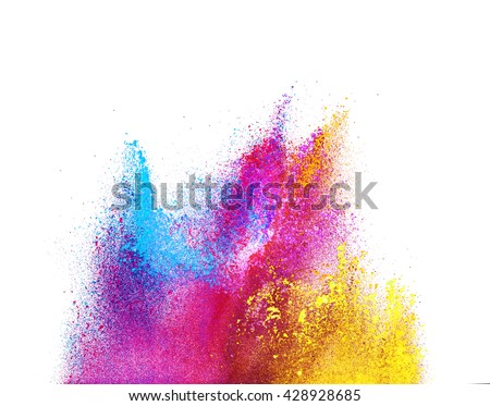 Explosion of colored powder, isolated on white background #428928685