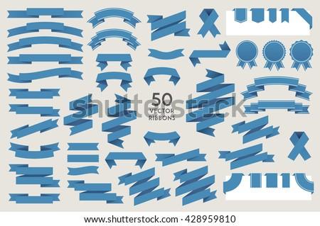 Vector banner Ribbons. Set of 50 ribbons Royalty-Free Stock Photo #428959810