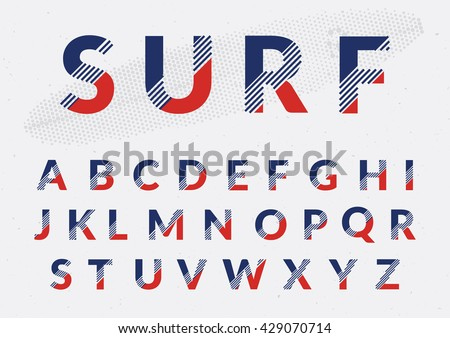 Typographic alphabet design set - Colorful lettering with abstract lines #429070714