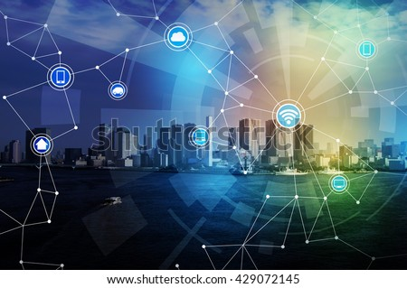 smart city and wireless communication network, abstract image visual, internet of things #429072145