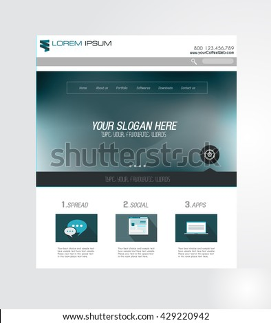 Minimal Website Home Page Design with Slider background and space for text in header and footer. #429220942