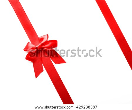 Two ribbons and bow, isolated on white #429238387