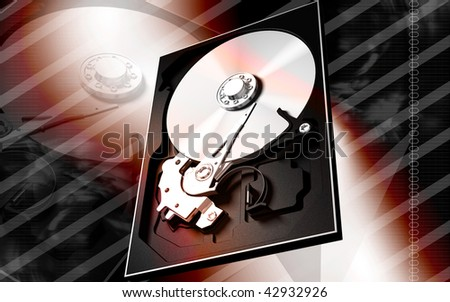 Digital illustration of compact disc reader in colour background #42932926