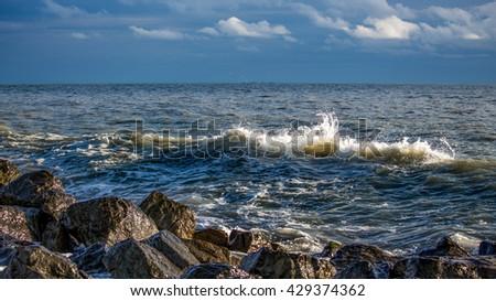 Sea wave, Black Sea, Poti, Georgia. #429374362