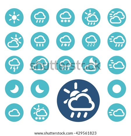 Set of weather icons. Button. Vector illustration. #429561823