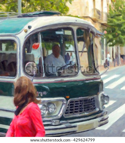 Man driving public vintage bus on the street - Oil painting, canvas #429624799