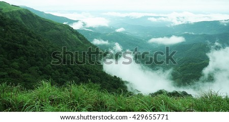 The high mountains tropical forest with clouds passing in India. #429655771