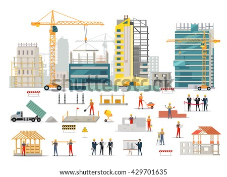 Process of construction of residential houses isolated. Big building dormitory area. Icons of construction machinery, construction workers and engineers design flat style. Vector illustration Royalty-Free Stock Photo #429701635