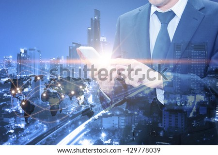 Double exposure of professional businessman using cloud technology in smart phone with servers technology in data center and network connection in IT Business technology concept, world map from NASA #429778039