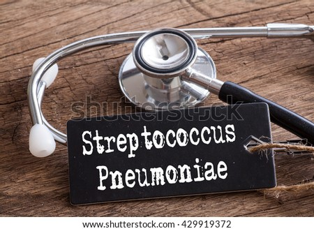 Stethoscope on wood with Streptococcus Pneumoniae words as medical concept #429919372