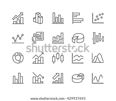 Simple Set of Graph Related Vector Line Icons. Contains such Icons as Pie Chart, Graphic, Statistics, Column Chart and more. Editable Stroke. 48x48 Pixel Perfect.