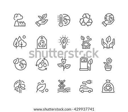 Simple Set of Eco Related Vector Line Icons.  Contains such Icons as Electric Car, Global Warming, Forest, Organic Farming and more.  Editable Stroke. 48x48 Pixel Perfect.  Royalty-Free Stock Photo #429937741