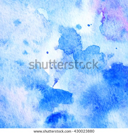 Hand painted watercolor background. Abstract texture. Blue. #430023880