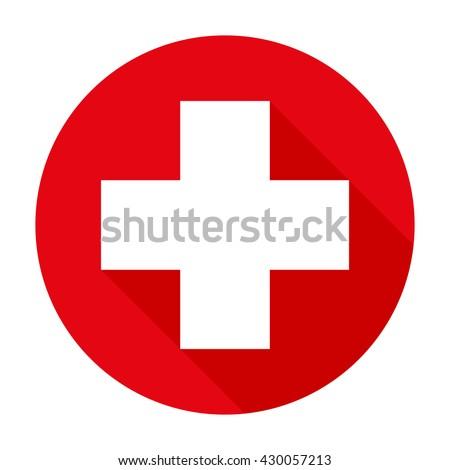 Cross red hospital medical vector sign/symbol. For mobile user interface