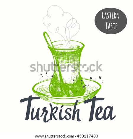 Turkish traditions of tea ceremony. Tea time. Decorative elements for your design. Vector Illustration with oriental cup on white background.