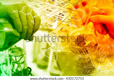 Concepts in Chemistry, researcher working in a laboratory. Royalty-Free Stock Photo #430172755