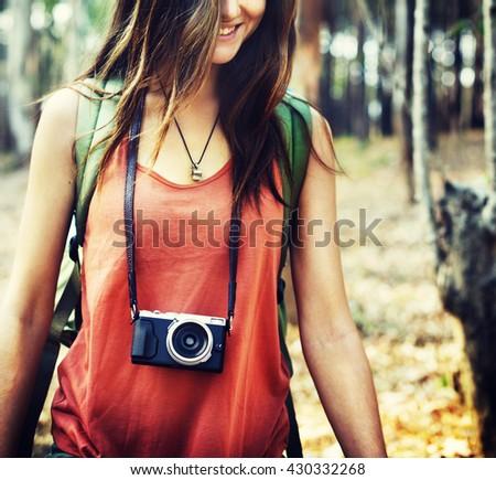 Camping Camera Walking Nature Photo Concept