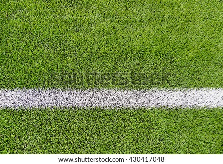 sport and game concept - close up of football field with line and grass #430417048
