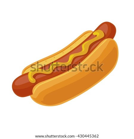 Hotdog. Vector isolated flat illustration fast food for poster, menus, brochure, web and icon fastfood. Royalty-Free Stock Photo #430445362