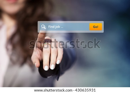 Woman searching for job on internet browser. #430635931