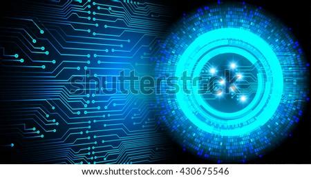 blue Cyber digital data technology background #430675546