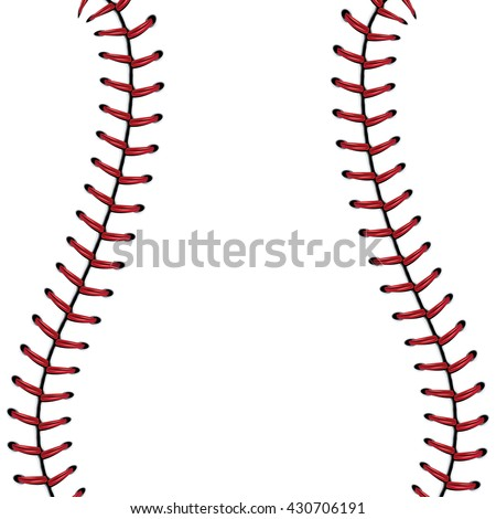 Softball, baseball red lace over white background.