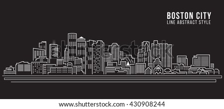 Cityscape Building Line art Vector Illustration design - Boston City