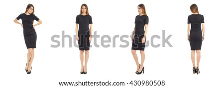 Young beautiful girl in dress isolated on white #430980508