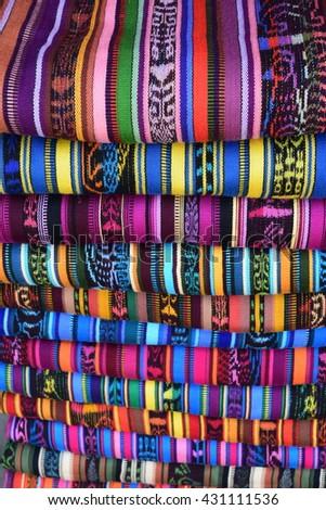 Beautiful traditional clothes at Friday market at San Francisco el Alto Guatemala.  #431111536