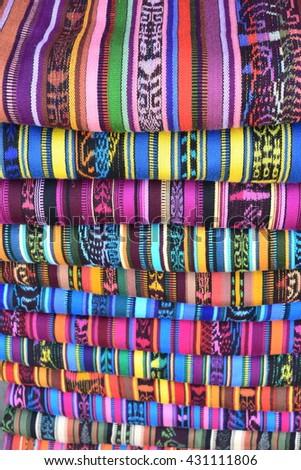 Beautiful traditional clothes at Friday market at San Francisco el Alto Guatemala.  #431111806