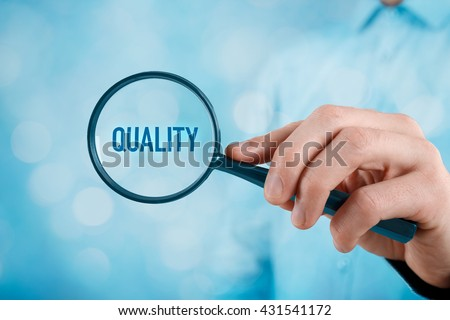 Focused on quality concept. Quality manager (businessman, coach, leadership) is focused on quality in business (total quality management concept). Royalty-Free Stock Photo #431541172