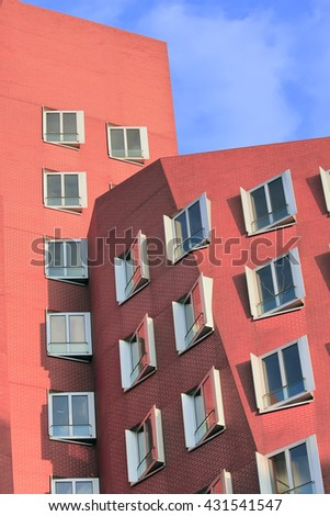 DUSSELDORF, GERMANY - NOVEMBER 18, 2011: Modern building in Dusseldorf, Germany. The building was designed by famous Frank Gehry and completed in 1998. #431541547