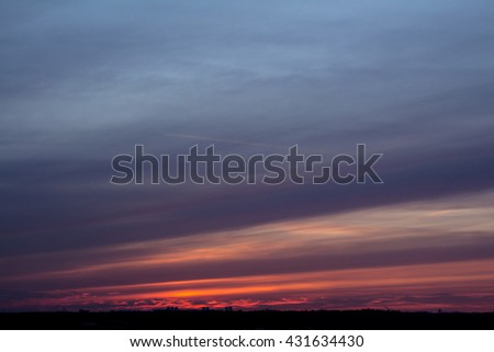 Colorful sunset with clouds in the evening #431634430